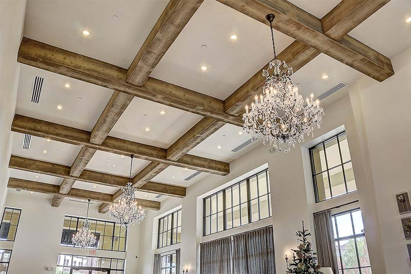 Volterra high density foam coffered ceiling with faux beams