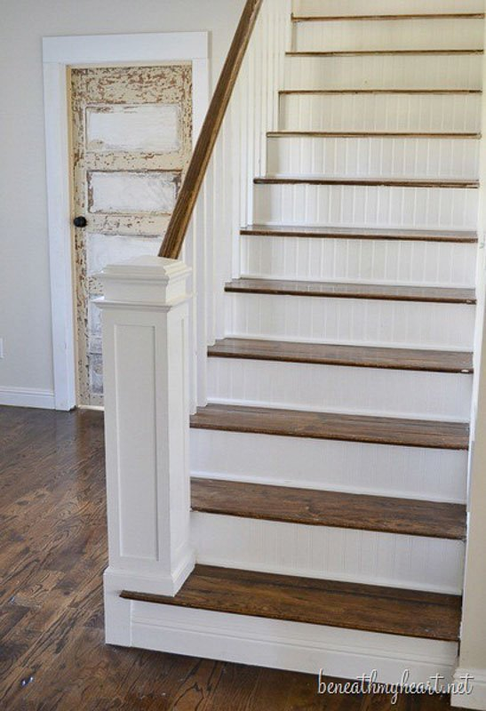Wainscotting/beadboard embellished stair risers | Beneath My Heart