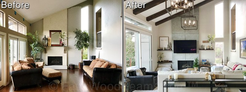 Volterra High Density Foam Faux Beams - Beachwood Before and After