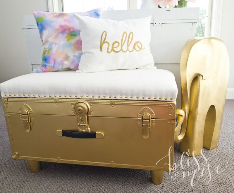 50 DIY Ottomans and DIY Poufs | gilded steamer trunk ottoman bliss n misc