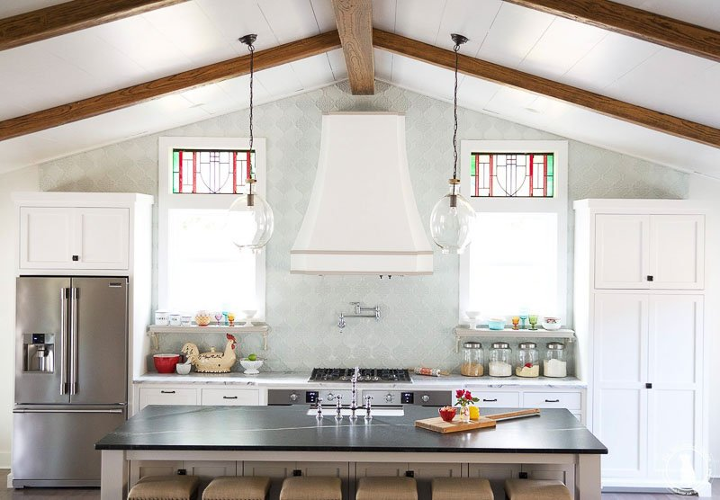 The Handmade Home Kitchen Renovation with faux wood beams