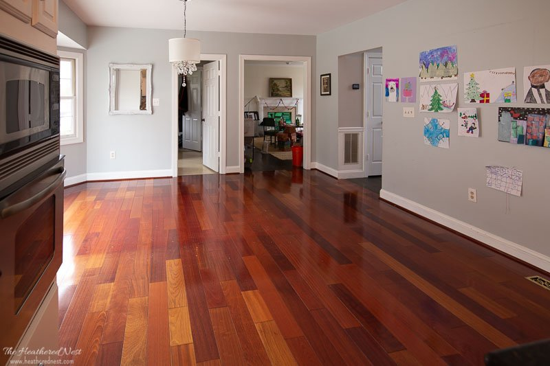 how to paint wood floors | decide whether you will be sanding first. Here are the original Brazilian Cherry hardwood floors we are prepping to paint. Cleaning the floors prior to painting