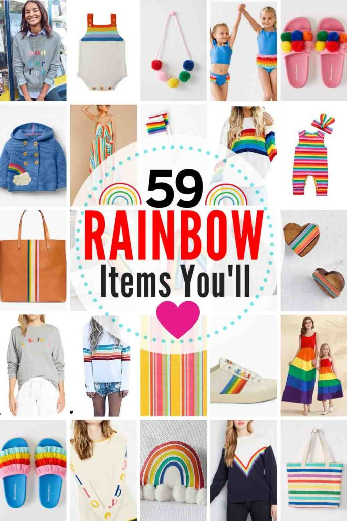 59 GLORIOUS Rainbow-Embellished Items For Your Closet & Home! You Can't Be Sad While Wearing A Rainbow! Rainbow Clothing and Rainbow Decor are really popular right now. Here are some favorites!