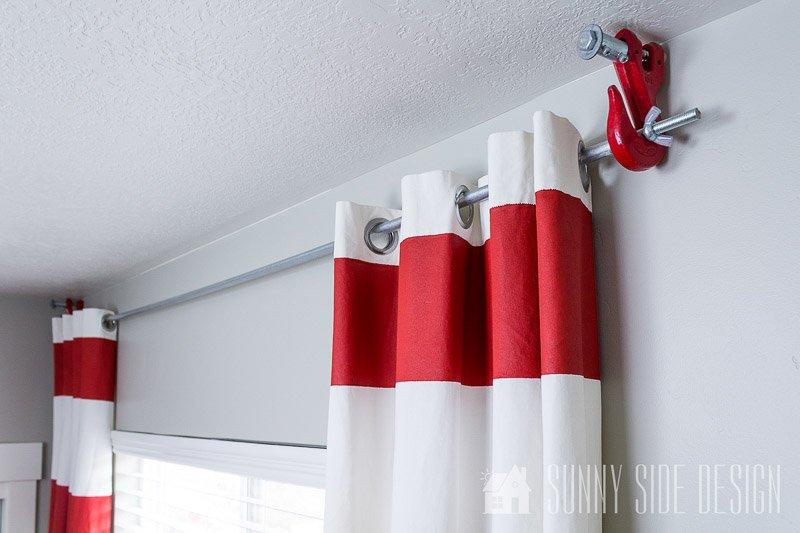 DIY Curtain Rods | using antique towing hook brackets via Sunny Side Design