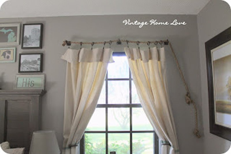 DIY Curtain Rods |made with rope via Vintage Home Love