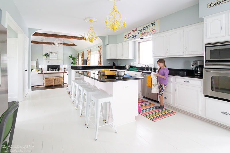 in search of new counter stools. pic of kitchen with old white metal counter stools