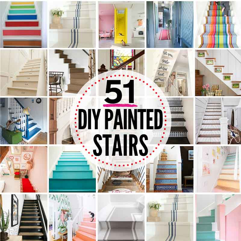 51 DIY PAINTED STAIRS projects that are SPECTACULAR!