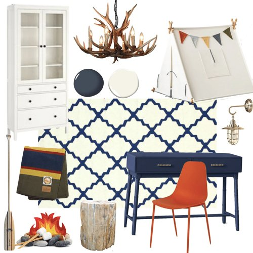 Boys outdoor adventure room e-design mood board