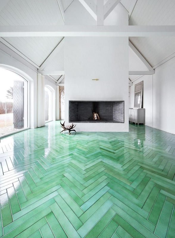 40+ painted floor ideas that will WOW you | mint color wash herringbone floor klikk no via Domino