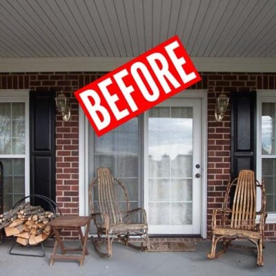 BEFORE shot of front porch before POLYWOOD outdoor furniture front porch makeover