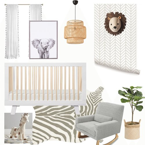 safari nursery - gender neutral nursery mood board