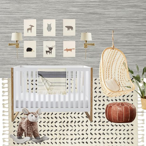 mood board examples - gender neutral woodland theme nursery design board
