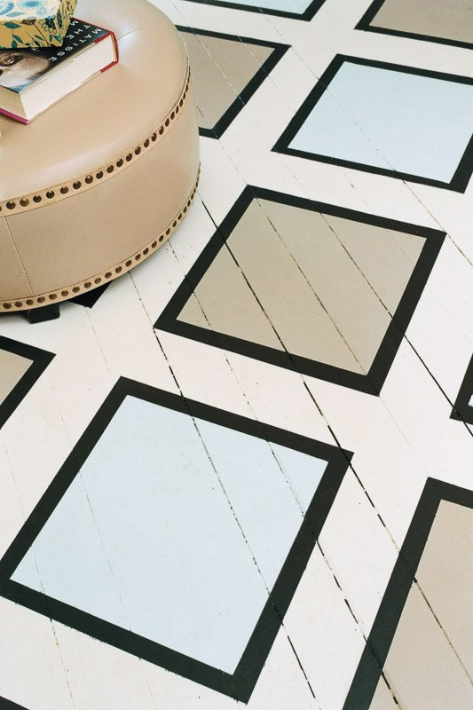 40+ painted floor ideas that will WOW you | Geometric painted pattern on hardwoods