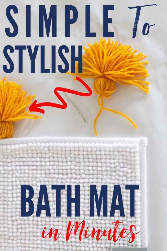 Add easy DIY tassels to a basic white Target bath mat! A simple DIY decor hack to dress up your bathrooom...create an easy DIY tassel bath mat
