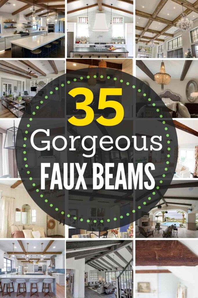 """Grid with 15 faux beam examples: """"35 Gorgeous faux beams"""""""