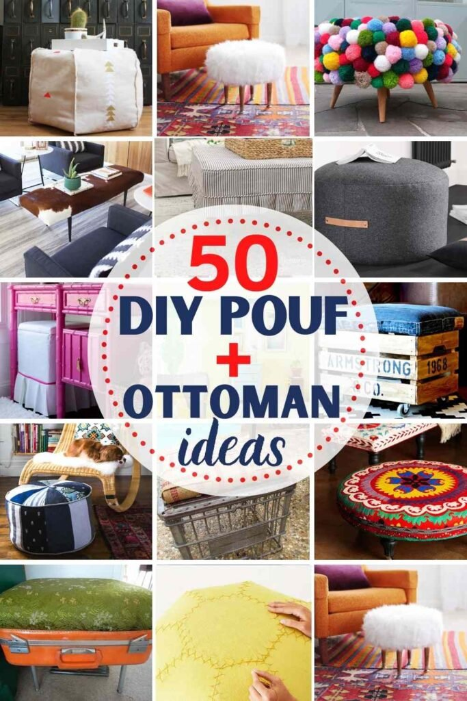 """grid with 15 DIY ottoman and DIY pouf examples: """"50 DIY pouf and ottoman ideas"""""""