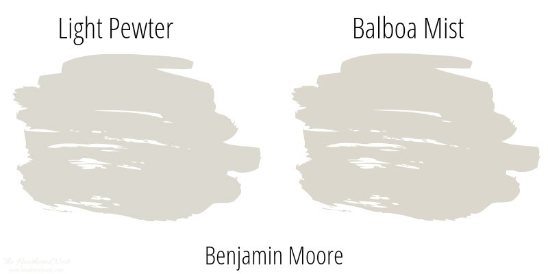 Light Pewter next to Balboa Mist, both popular neutral paint colors from Benjamin Moore