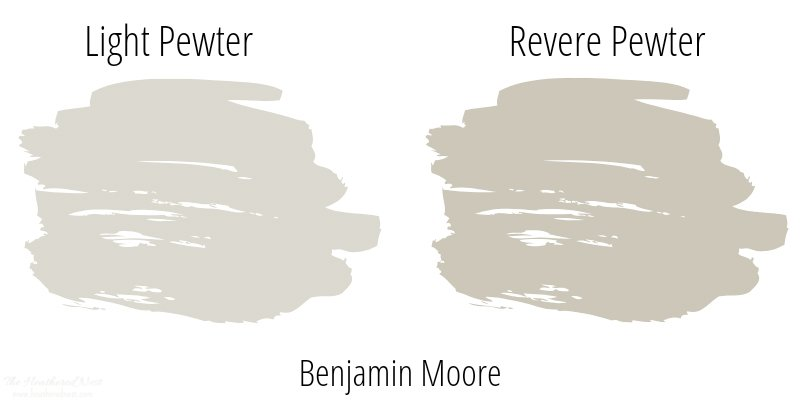 side by side comparison of two popular benjamin moore paint colors: light pewter and revere pewter