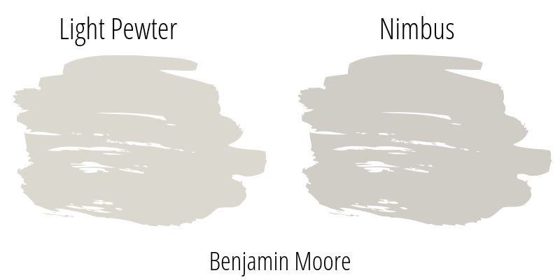 Exploring Benjamin Moore Light Pewter Paint Color compared to Nimbus by Ben Moore