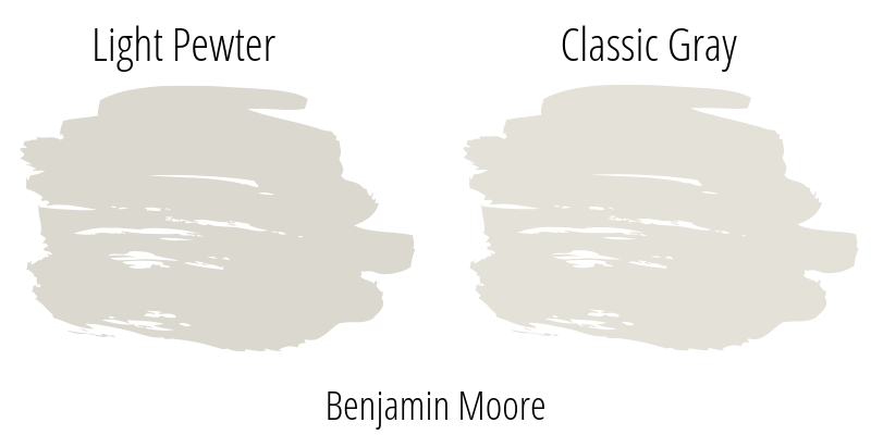 Exploring Benjamin Moore Light Pewter Paint Color vs BM Classic Gray