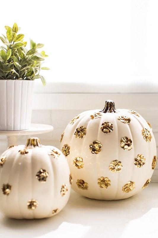 sequin dots on white pumpkins