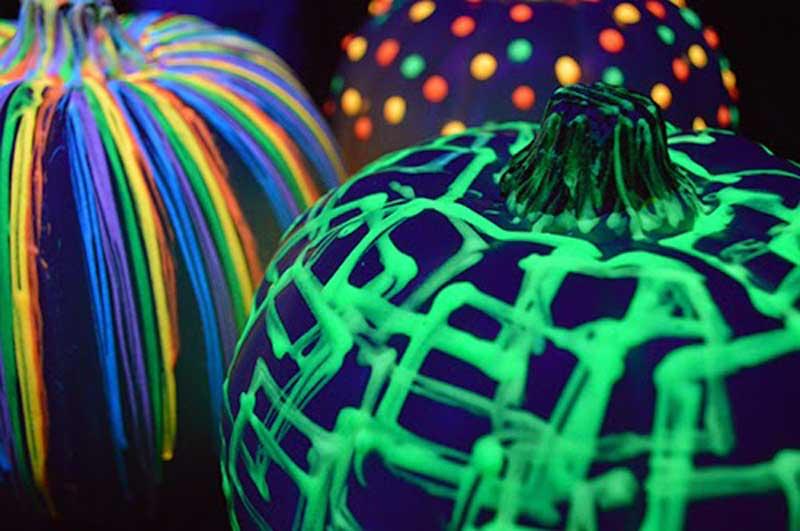 glow-in-the-dark paint on pumpkins