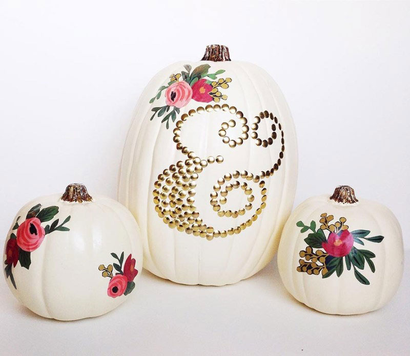 ampersand monogrammed white pumpkins with painted flowers