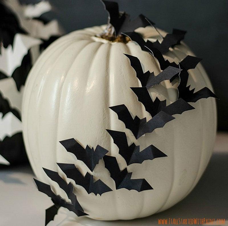 white pumpkin with 3D paper bats attached