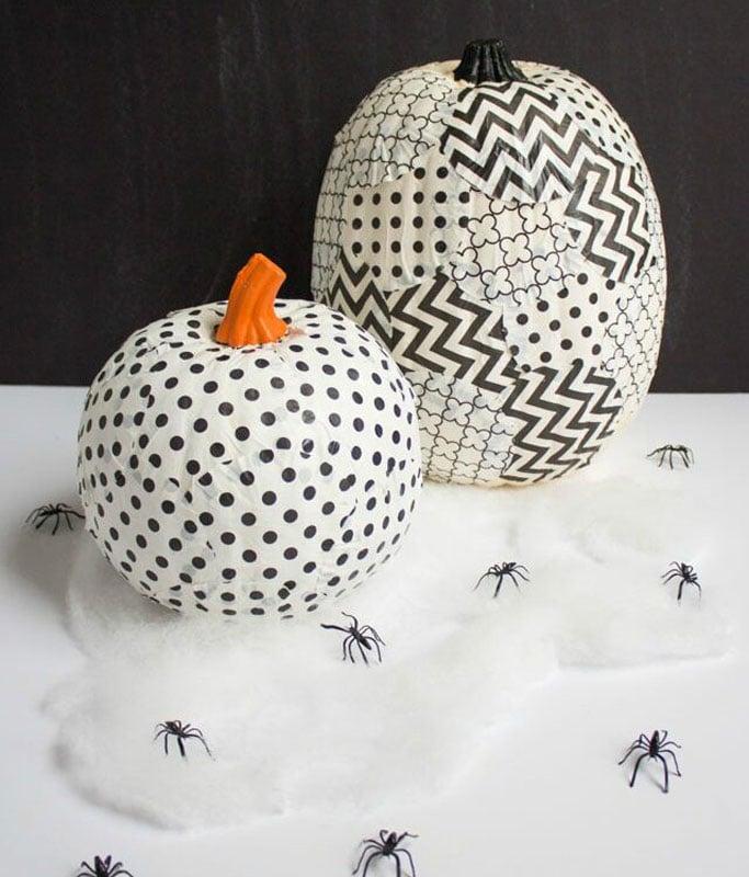black and white polka dot and chevron pumpkins