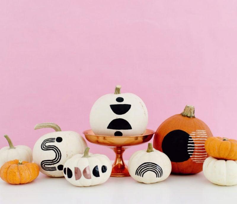 mod geometric painted pumpkin idea