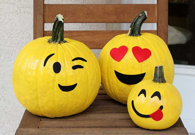40+ No-Carve Pumpkin Ideas You'll Want To Try This Fall! - Emoji pumpkins from Cutefetti