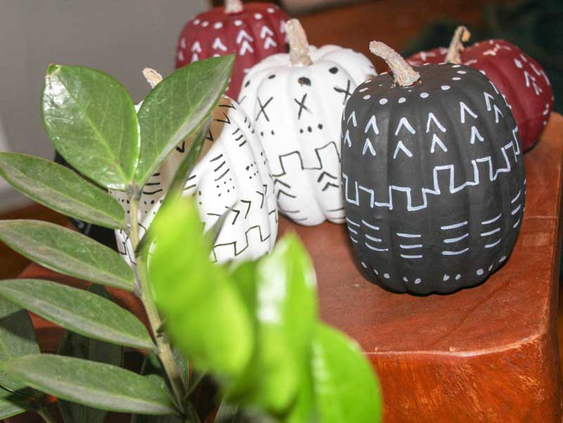 51 Cute Painted Pumpkin Ideas - Renovating Mapleson Manor Mudcloth Painted Pumpkins