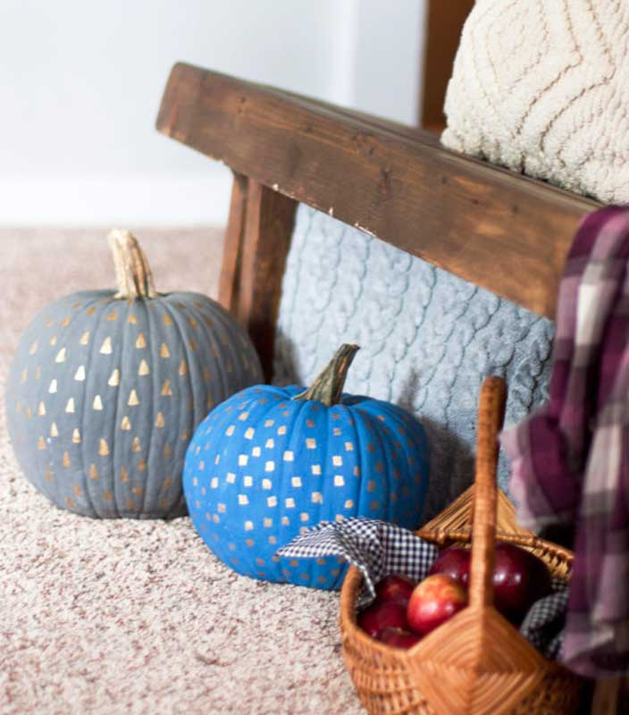 51 Cute Painted Pumpkin Ideas - Small Stuff Counts Metallic Stamped Pumpkins