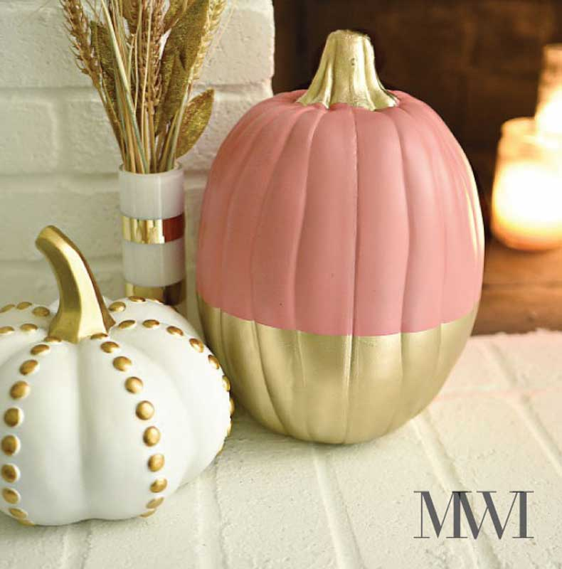 51 Cute Painted Pumpkin Ideas - Coral & Gold Painted Pumpkins Monica Wants It