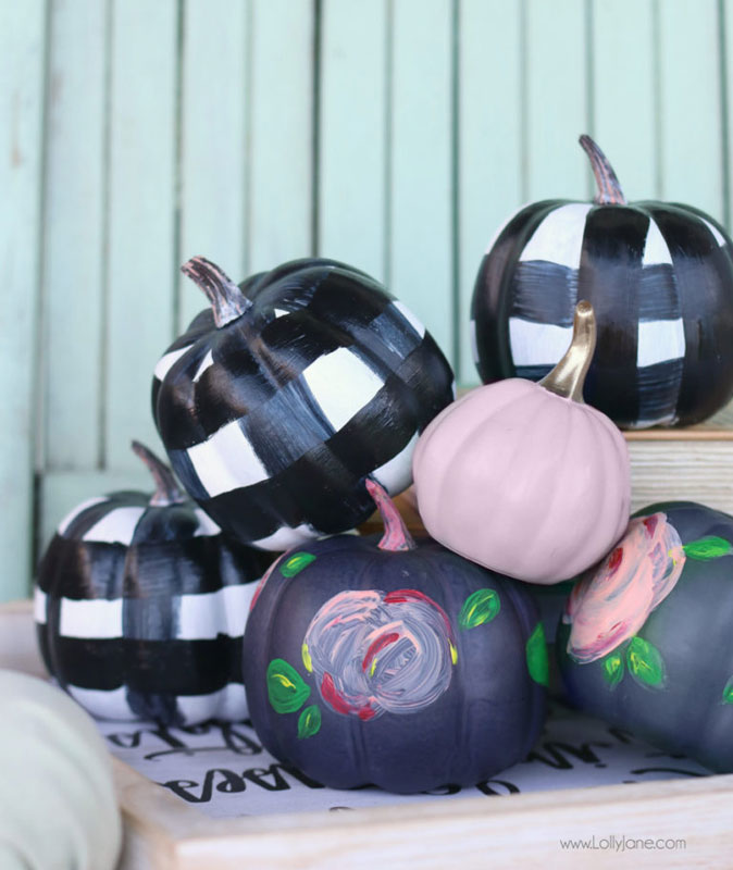 51 Cute Painted Pumpkin Ideas - Lolly Jane Gingham and Floral Pumpkins
