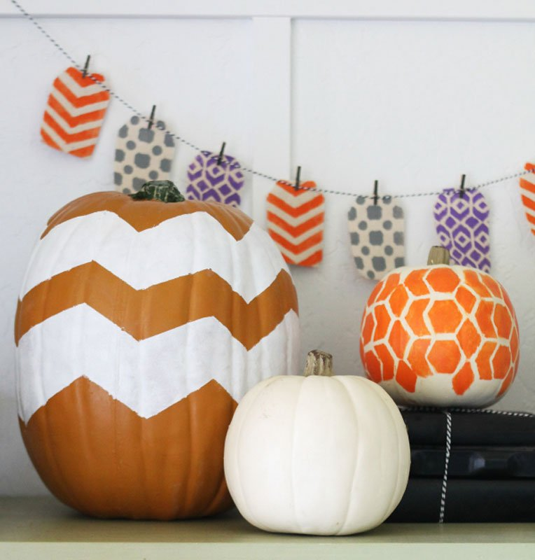 51 Cute Painted Pumpkin Ideas - Chevron Painted Pumpkins Lolly Jane