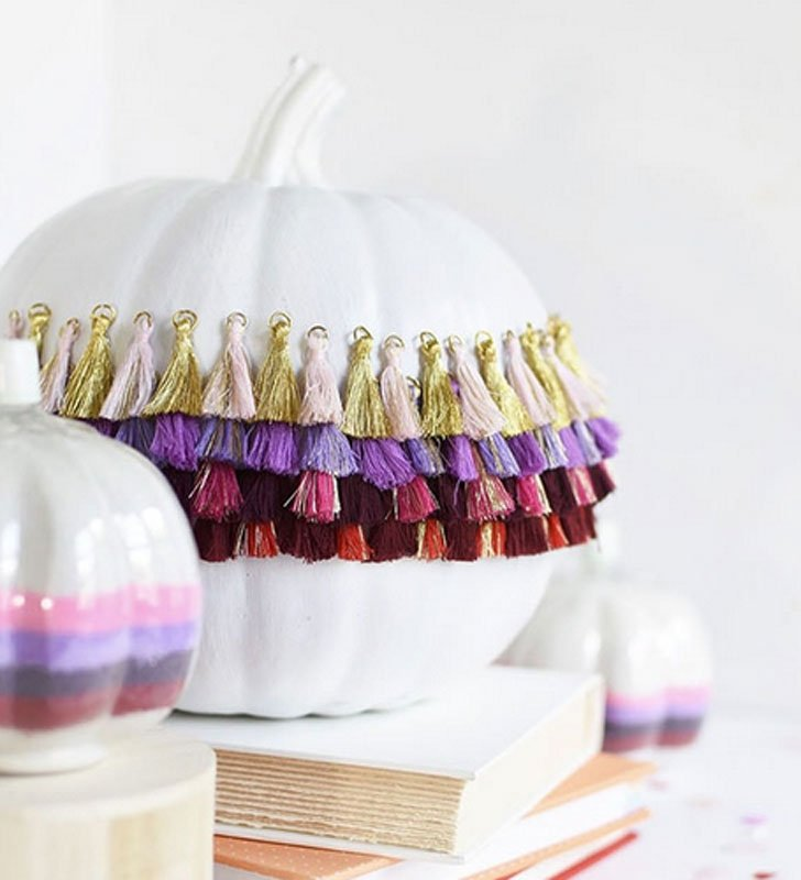 51 Cute Painted Pumpkin Ideas - Delineate Your Dwelling Painted Pumpkins with Tassel Embellishments