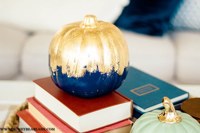 51 Cute Painted Pumpkin Ideas - Gold Gilded Pumpkins Honey Bear Lane