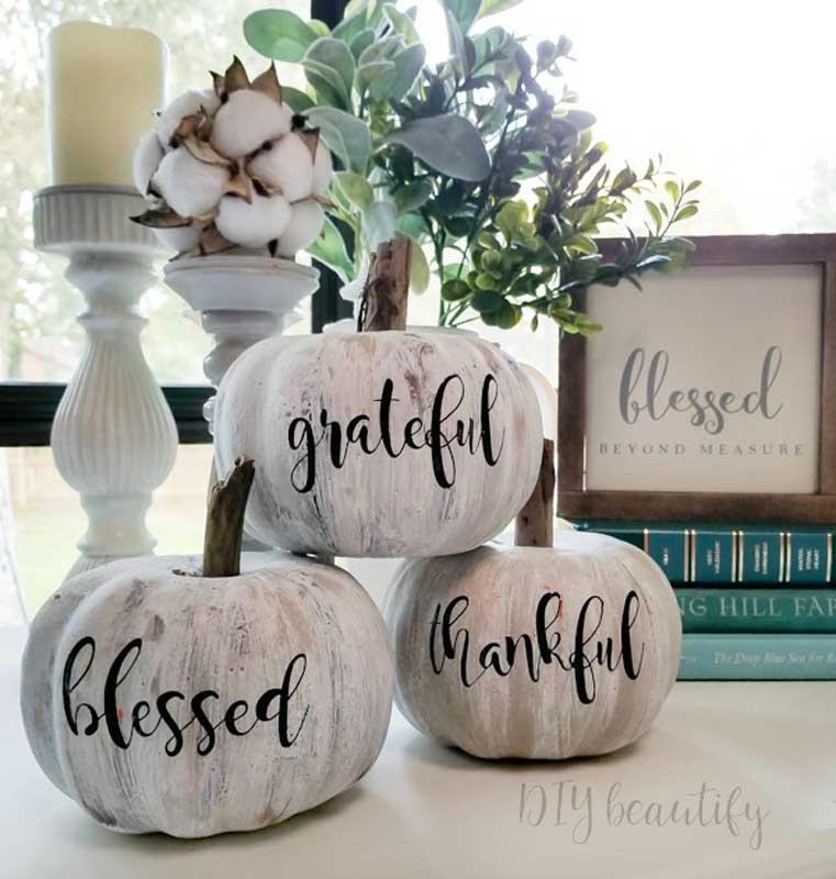 51 Cute Painted Pumpkin Ideas - Antiqued Dollar Store Pumpkins