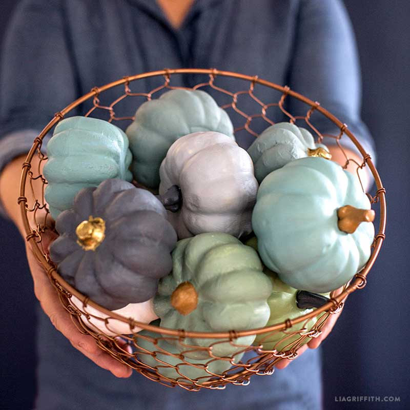 51 Cute Painted Pumpkin Ideas - Lia Griffith Painted Mini-Pumpkins