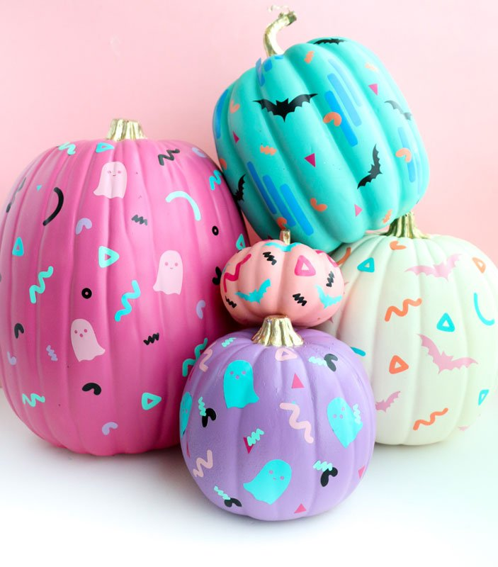 51 Cute Painted Pumpkin Ideas - A Kailo Chic Life 90's Pumpkins