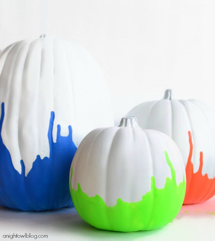51 Cute Painted Pumpkin Ideas - Neon Paint Dipped Pumpkins A Night Owl Blog