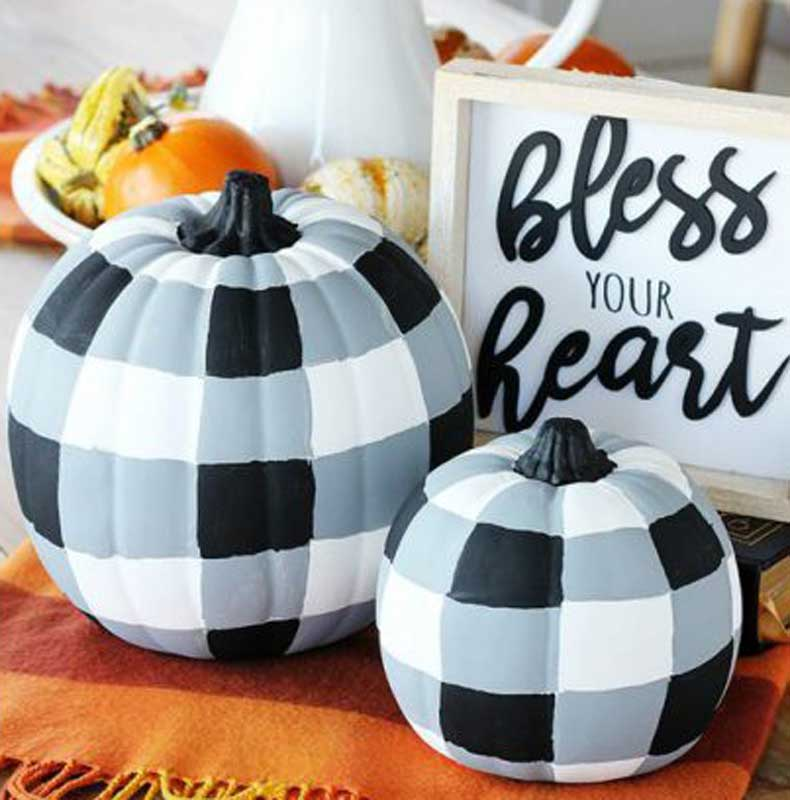51 Cute Painted Pumpkin Ideas - My Family Thyme Buffalo Plaid Painted Pumpkins