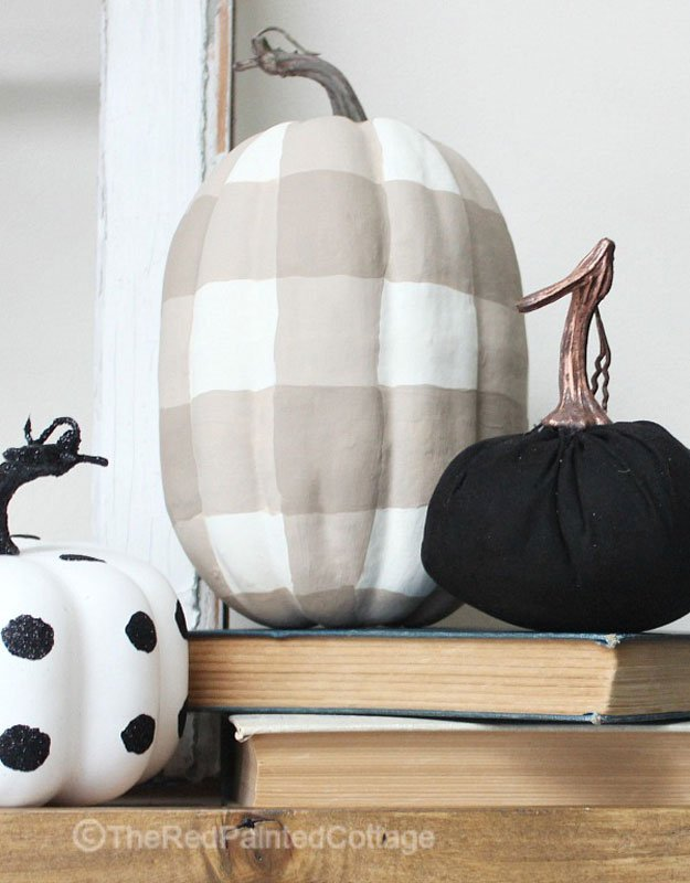 51 Cute Painted Pumpkin Ideas - The Red Painted Cottage Buffalo Check Painted Pumpkins