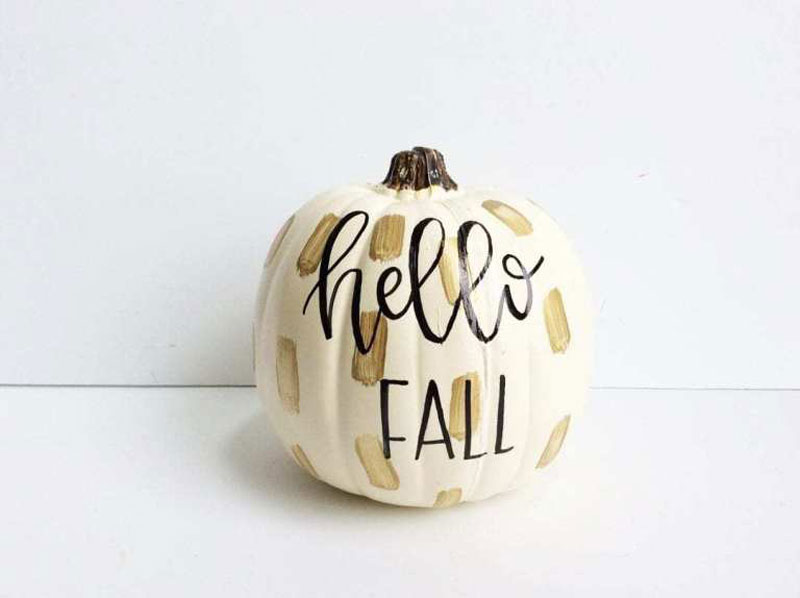 51 Cute Painted Pumpkin Ideas - By Dawn Nicole Hand Lettered Pumpkin