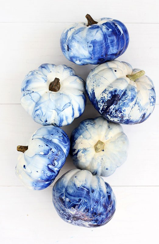 51 Cute Painted Pumpkin Ideas - Alice and Lois Blue Marbled Pumpkins