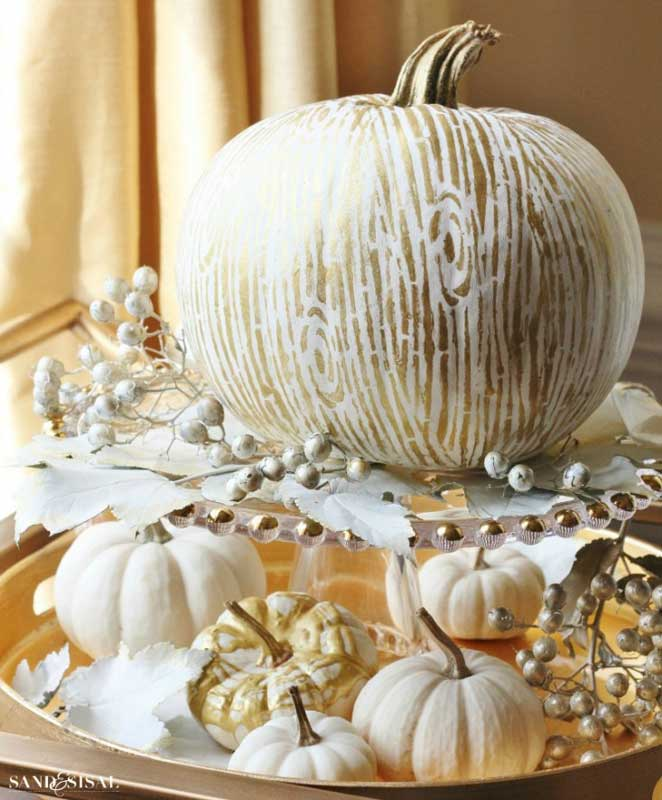 51 Cute Painted Pumpkin Ideas - Sand & Sisal Faux Bois Pumpkins