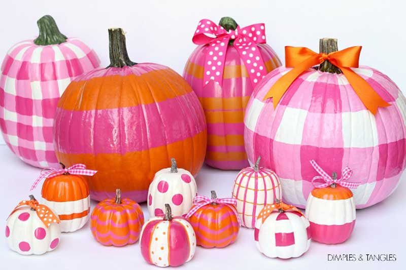 51 Cute Painted Pumpkin Ideas - Gingham and Striped Pumpkins Dimples & Tangles