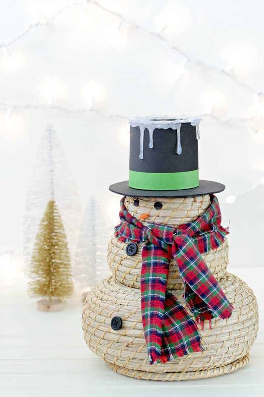 51 CUTEST snowman crafts | Stacked IKEA basket snowman