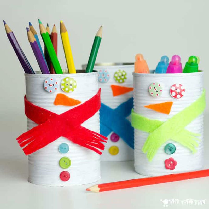 51 CUTEST Snowman Crafts | Upcycled Tin Can Snowmen